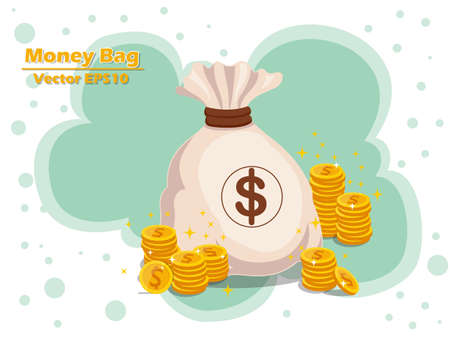 Money bag and gold coins vector icon with a dollar sign vector illustration