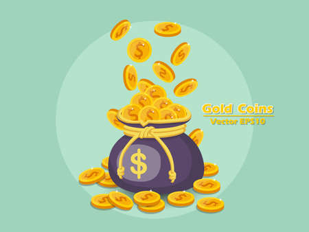 Money bag and gold coins vector icon with dollar sign. color and Background.