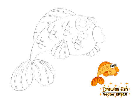 Drawing the cute cartoon fish and color. educational game for kids. Vector illustration. children and educational Иллюстрация