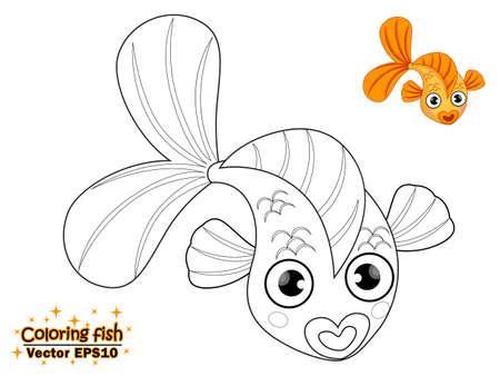 Het kleuren van de leuke cartoonvis. educatief spel voor kinderen. Vector illustratie. kinderen en educatief