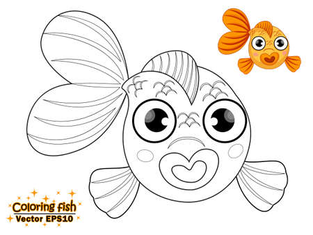 Coloring the cute cartoon fish. educational game for kids. Vector illustration. children and educational