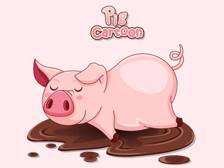 Cute Cartoon Pig in a puddle. Vector illustration with cartoon Funny pig