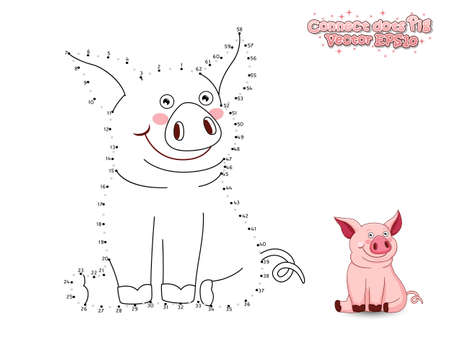 Connect The Dots Draw Cute Cartoon Pig and Color. Educational Game for Kids. Vector Illustration Vectores