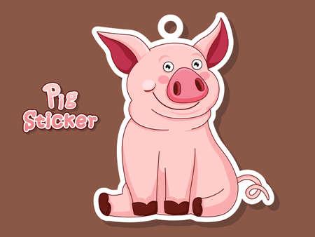 Cute Pig Cartoon Sticker. Illustration