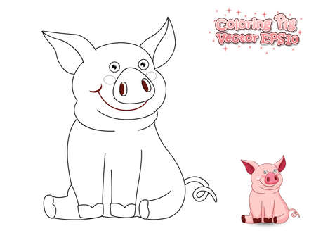 Coloring the Cute Cartoon Pig. Educational Game for Kids. Vector illustration Illustration