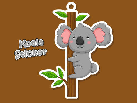Cute Cartoon Koala Sticker. Vector Illustration With Cartoon Style Funny Animal. Illustration