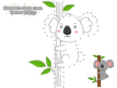 Connect The Dots and Draw Cute Cartoon Koala. Educational Game for Kids. Vector Illustration. Banco de Imagens - 103101568