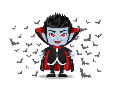 Halloween-Karikatur. Dracula Vampir und fliegende Fledermäuse lokalisiert auf weißem Hintergrund. Vektorillustration. Vektorgrafik