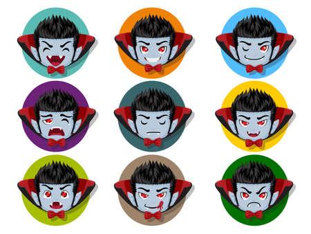Set of cartoon Dracula Vampire face emotions. Facial expression. Vector illustration Illustration
