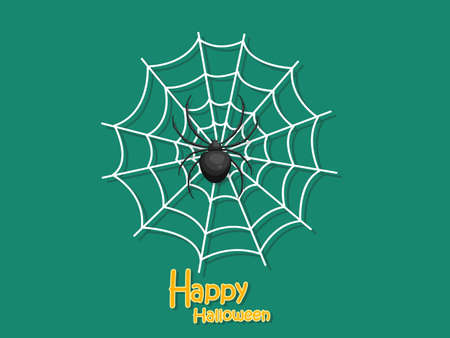 Happy Halloween. Cartoon Spider and Cobweb on Background. Vector illustration