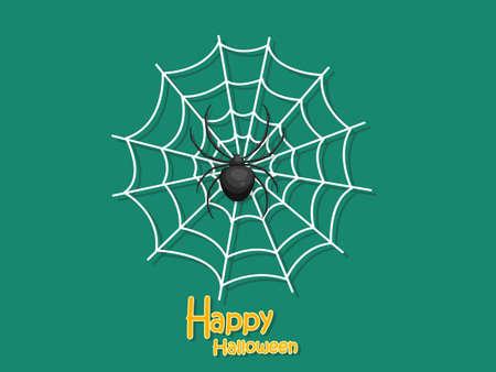 Happy Halloween. Cartoon Spider and Cobweb on Background. Vector illustration
