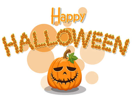 Happy Halloween. The pumpkin lined up is a halloween alphabet isolated on white background. Vector illustration. Векторная Иллюстрация