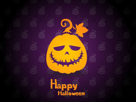 Happy Halloween. The pumpkin icon with emotions face isolated on pattern background. Vector cartoon Illustration.