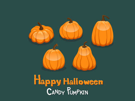 Happy Halloween. Set Candy pumpkins icon. Gift and decorative element on holiday. Vector cartoon Illustration Stock Illustratie