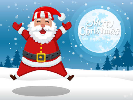 Merry Christmas and happy new year. Cartoon Santa Claus standing in the snow with on the moon background. Vector Illustration. Illusztráció