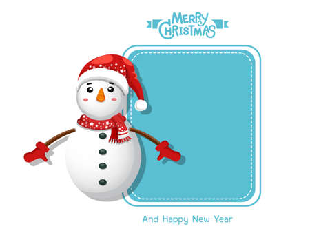 Merry Christmas and happy new year. Vector Greeting Card Snowman. decorative element on holiday. posters, gift tags and labels.