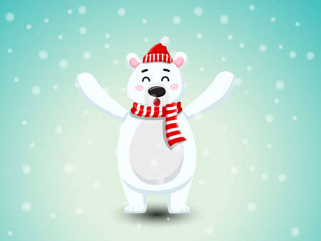 Cute Polar Bear with Red Scarf and Red hat.  Merry Christmas and happy new year. decorative element on holiday. Vector illustration. Illustration