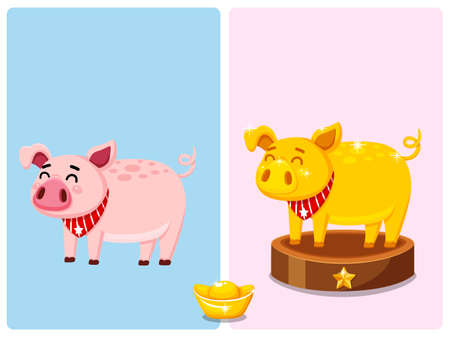 Cute Pink fat pig and golden fat pig characters. Vector Illustration. Year of the pig cartoon style 2019 Vettoriali