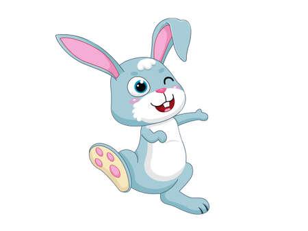 Cute Cartoon Rabbit Characters. Vector Illustration Cartoon Style. Isolated on white background Иллюстрация