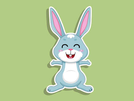 Cute Cartoon Rabbit Sticker on color background. Vector Illustration With Cartoon Style Funny Animal Ilustracja