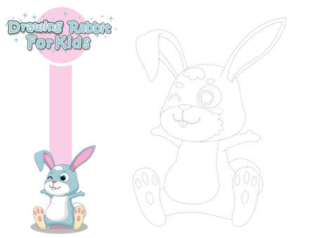 Drawing and Paint Cute Cartoon Rabbit. Educational Game for Kids. Vector Illustration With Cartoon Style Funny Animal