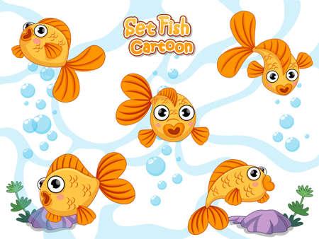 Establecer vector lindo de dibujos animados de peces de colores. Icono de peces de acuario plano de dibujos animados coloridos