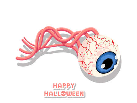 Happy Halloween. icon Creepy eye ball. Concept colorful cartoon vector design. white background vector illustration