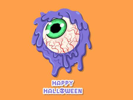 Happy Halloween. icon Creepy eye ball. Concept colorful cartoon vector design. white background vector illustration