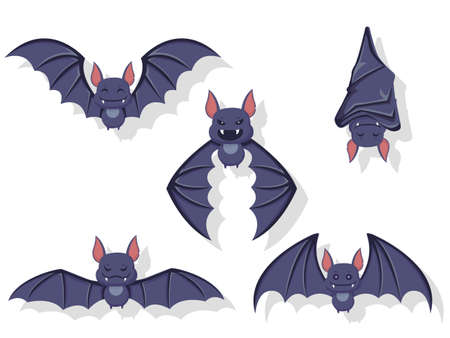 Collection of flying bats. Concept cartoon bat in different poses. Halloween elements set. Vector clipart illustration isolated on white background Ilustracja
