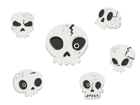 Collection of skulls. Concept cartoon skull in different. Halloween elements set. Vector clipart illustration isolated on white background Иллюстрация