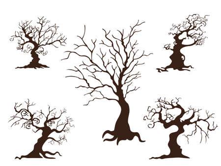 Sammlung von Bäumen. Konzeptkarikaturbaum in unterschiedlichem. Halloween-Elemente eingestellt. Vektor-Clipart-Illustration isoliert auf weißem Hintergrund Vektorgrafik