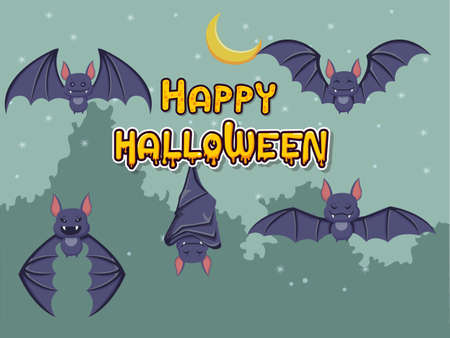 Happy halloween collection of bats on background. Concept cartoon bat in different. Halloween elements set. Vector clipart illustration