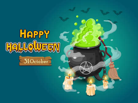 Halloween banners with text and characters. Concept cartoon Halloween elements. Vector clipart illustration on color background Иллюстрация