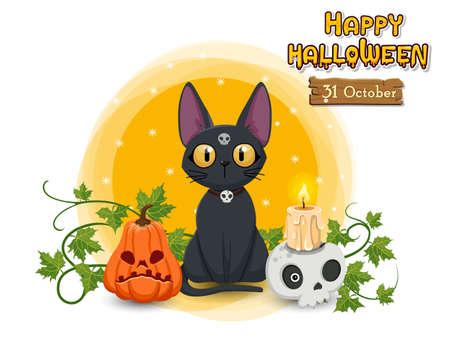 Happy Halloween pumpkin, cat, skull, candle. Concept cartoon Halloween day elements. Vector clipart illustration
