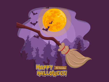 Cartoon witch broom and full moon night background. Concept cartoon Halloween day elements. Vector clipart illustration for holiday cards and banners