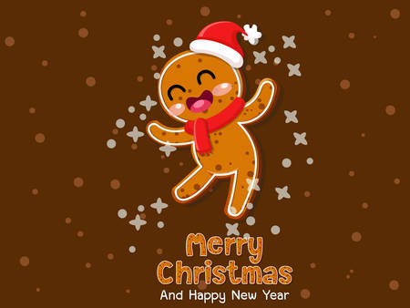 Christmas gingerbread man cookie. Celebration event for Birthday,Merry Christmas and Newyear. Vector illustration for cookies on a colorful background Vector Illustration