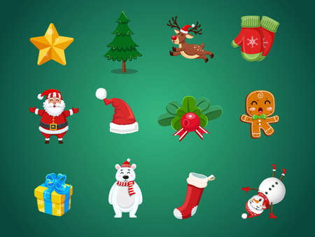 Set of Christmas icons. Celebration event for Merry Christmas and New Year. Vector clipart illustration on color background.
