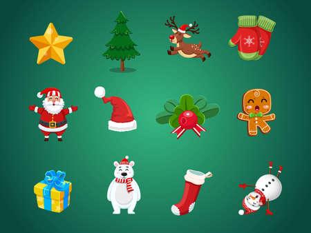 Set von Weihnachtssymbolen. Festveranstaltung für Frohe Weihnachten und Neujahr. Vektor-Clipart-Illustration auf farbigem Hintergrund.