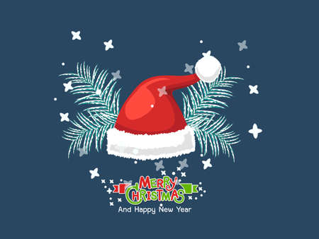 Stock vector Santa Claus hat. Merry christmas and happy new year greeting card. Vector clipart illustration on color background Stock Illustratie
