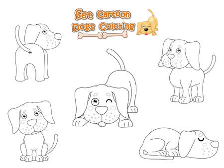 Coloring the Cute Dogs Cartoon Set. Educational Game for Kids. Vector illustration With Cartoon Funny Animal Frame
