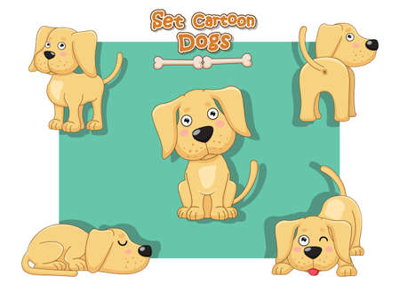 Cute Dogs Cartoon Characters Set. Vector illustration With Cartoon Funny Animal Frame Ilustração