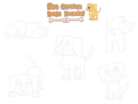 Drawing and Paint Cute Dogs Cartoon Set. Educational Game for Kids. Vector illustration With Cartoon Funny Animal Frame