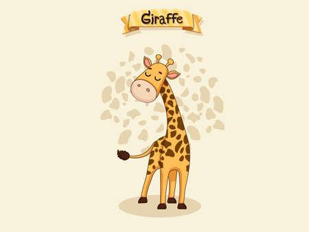 Cute Cartoon Giraffe Characters. Kids, baby vector art illustration with funny animal cartoon Ilustração