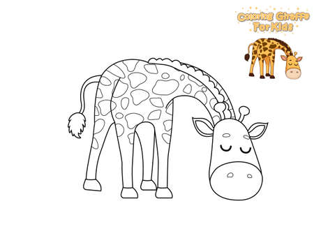 Coloring The Cute Cartoon Giraffe. Educational Game for Kids. Vector Illustration With Cartoon Animal Characters Vector Illustration
