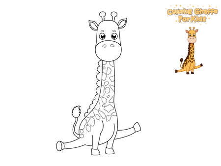 Coloring The Cute Cartoon Giraffe. Educational Game for Kids. Vector Illustration With Cartoon Animal Characters  Ilustração
