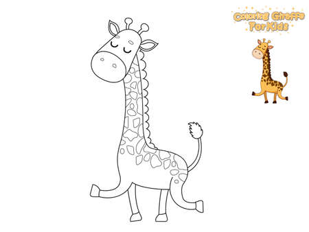 Coloring The Cute Cartoon Giraffe. Educational Game for Kids. Vector Illustration With Cartoon Animal Characters