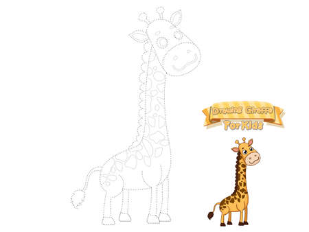 Drawing and Paint Cute Cartoon Giraffe. Educational Game for Kids. Vector Illustration With Cartoon Animal Characters Ilustração
