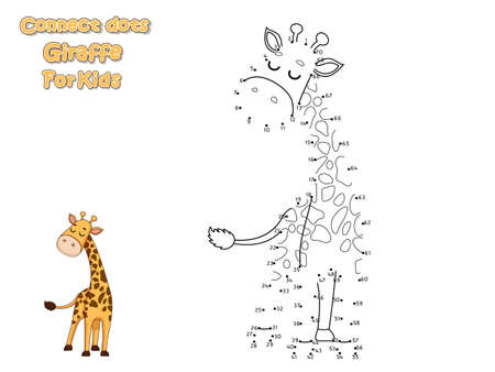 Connect The Dots and Draw Cute Cartoon Giraffe. Educational Game for Kids. Vector Illustration With Cartoon Animal Characters