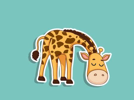 Cute Giraffe Cartoon Sticker. Kids, baby vector art illustration with Cartoon Animal Characters Ilustração
