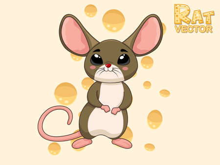 Cute Cartoon Rat Characters. Vector art illustration with happy animal cartoon
